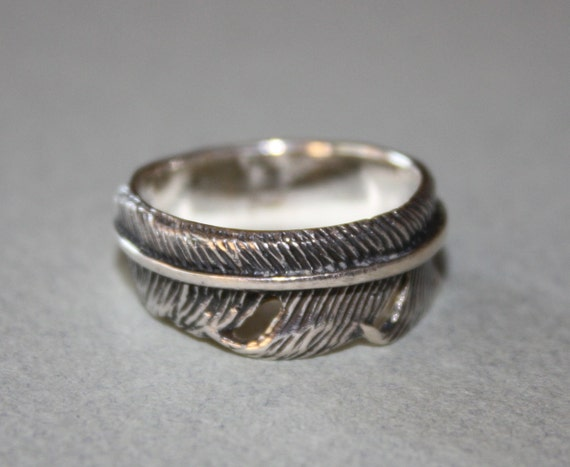vintage cw sterling silver feather ring size 8 1 2