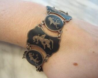 Antique Siamese Dancers and Warriors Sterling Silver Link Bracelet