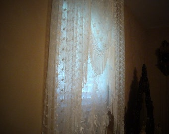 """Elegant Victorian Style Lace """"Side"""" Valance set Shabby Chic - Available in Antique White or Vintage Cream colors"""