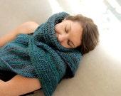 Beautiful soft aqua teal navy blue crochet wrap shawl - fall, winter, spring, summer - womens fashion, christmas, free shipping