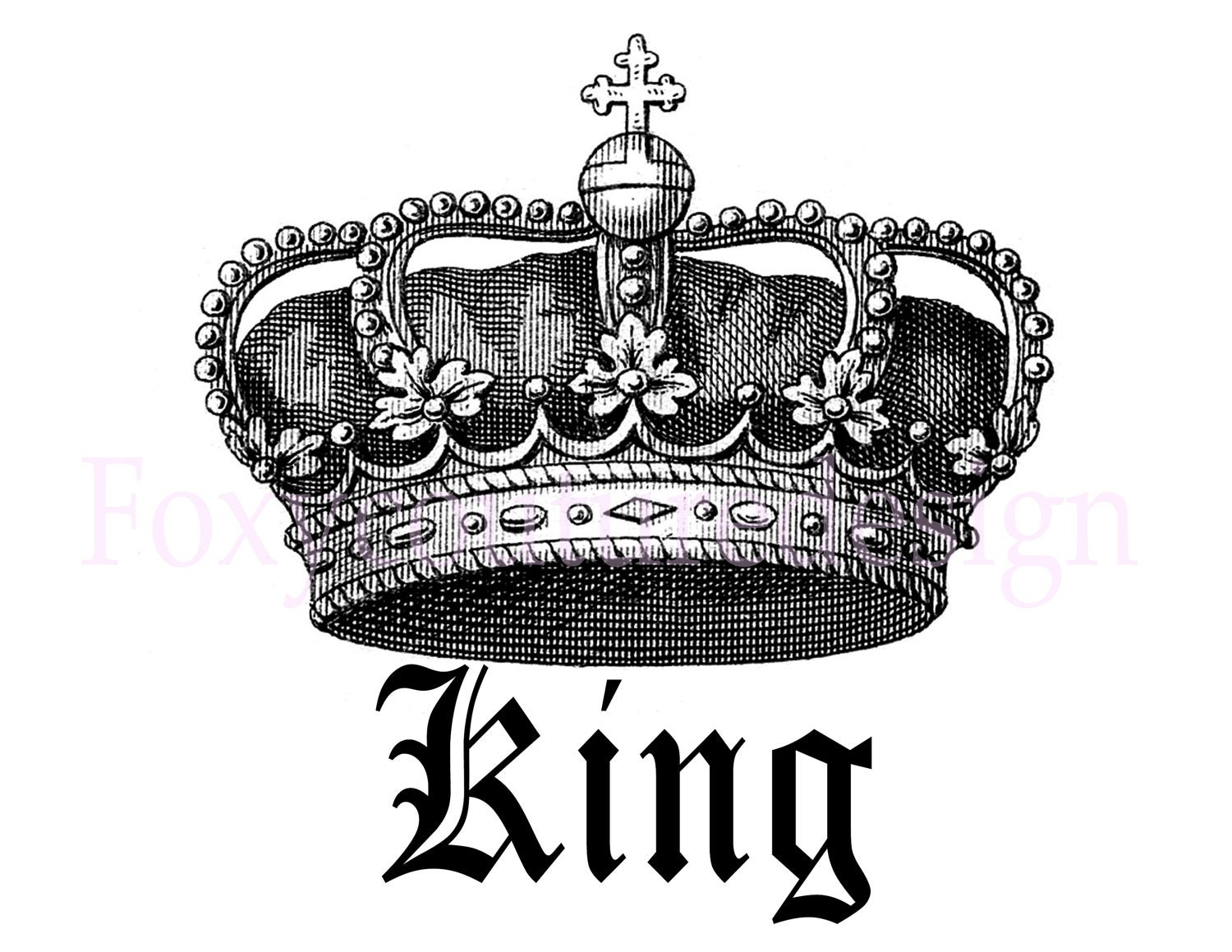 King Royal Crown Vintage Large Image Digital By FoxyCoutureDesigns