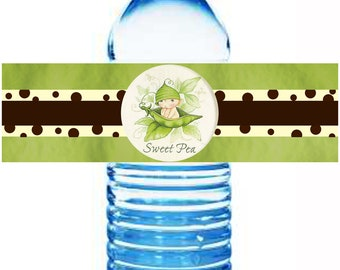 Water Bottle Labels Matching Sweet Pea Baby Shower Theme