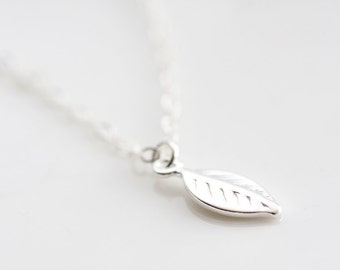 Sterling Silver Tiny Leaf Necklace Silver Leaf Charm Delicate Simple Leaf Jewelry Dainty Everyday - N221