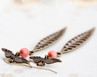 Angel Wings Skeleton Leaf Earrings Pink Peach Beads Skinny Feather Dangle Earrings Autumn Fall Jewelry - E211