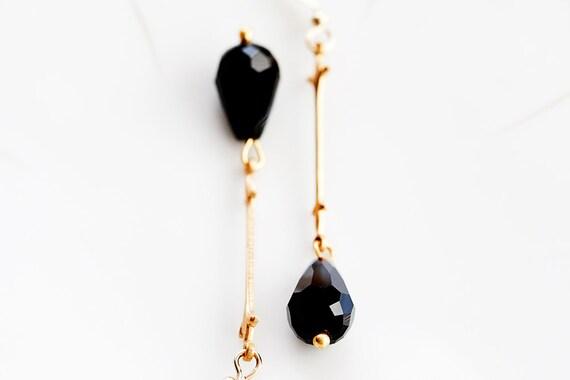 Black Crystal Teardrop Earrings Fleur De Lis Stick Black Drop Earrings Long Dangle Earrings - E196