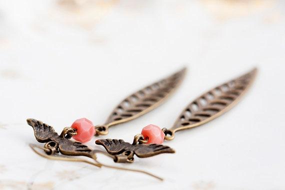 Angel Wings Skeleton Leaf Earrings Pink Peach Beads Skinny Feather Dangle Earrings Autumn Fall Jewelry - E211