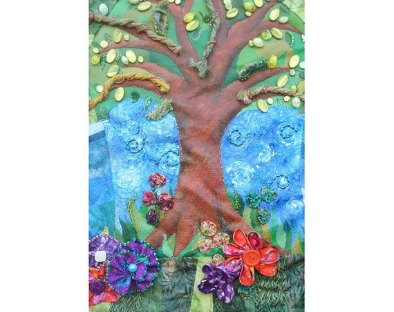 RESERVED FOR NANCY - 4th installment of Layaway Plan for Quilted Fiber Art Painting - Tree Rainbow Fabric Flowers Beading Acrylic 26 x24