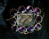 Victorian Mourning Hair Amethyst Brooch or Pendant