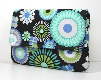 Clutch - Aqua / Turquoise, Blue, and Green Flowers on Black - Ready to Ship