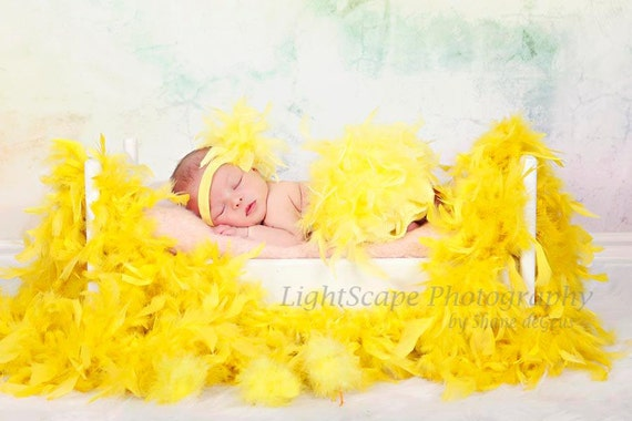 Yellow Feather Diaper Cover Bloomer & Headband Set Yellow Feather Tutu, Yellow Feather Skirt, Yellow Feather Outfit,  New Baby Photo Prop
