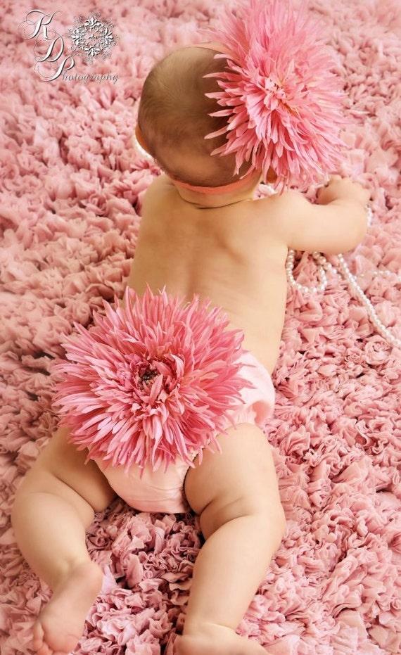 Diaper Cover Photo Shoot Prop Pink Daisy Diaper Cover & Headband Set  Summer Photo Prop, Newborn Girl, New Baby Photo Prop, Flower Bloomer