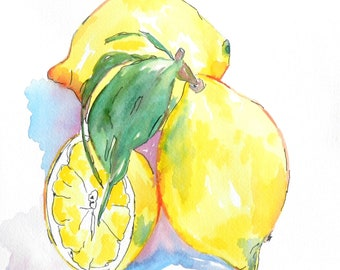 Lemons, Watercolor Lemons, Paintings of Lemons, Lemonade, Country Kitchen, Yellow Lemons, Original Watercolor