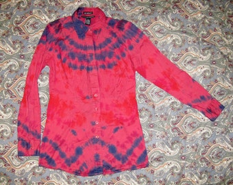 Tie dye shirt long sleeve - womens medium fitted blouse - red purple blue stripe