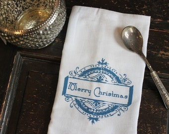 Christmas Kitchen Towel-1-Kitchen Towel -Flour Sack Towel-Christmas Towel-Merry Christmas-Dish Towel-Vintage- Blue-Modern Vintage Market