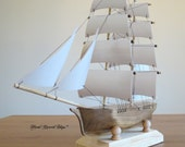 Hand Carved, Hand Made Brig Model Sailing Ship