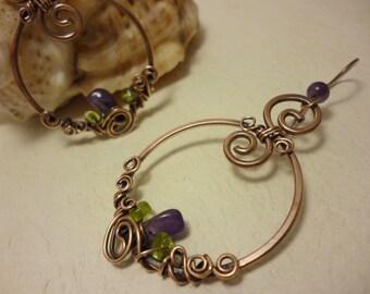 Amethyst , olivine  earrings  wire wrapped of copper OOAK jewelry