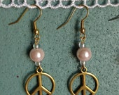 Gold Peace Sign and Glass Bead Dangles