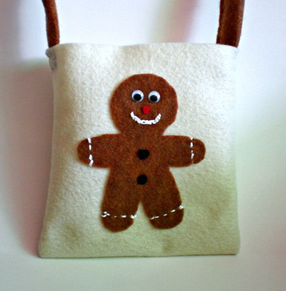 Felt Purse - Little Girl Purse - Holiday Handbag - Gingerbread Man