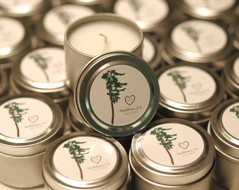Wedding Reception Soy Travel Candle Favor Gift With Custom Label Sample