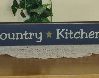 "Primitive ""Country Kitchen"" wood sign shelf sitter - your color choice"