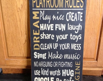 "Primitive ""Playroom Rules"" wood subway sign 12 x 24 - your color choice"