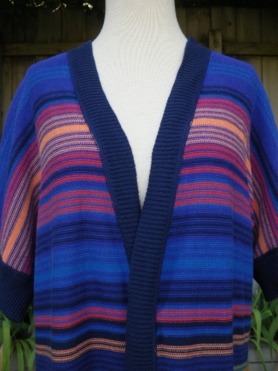 vintage multi color stripe cardigan sweater tunic M L XL short sleeve  wild new wave