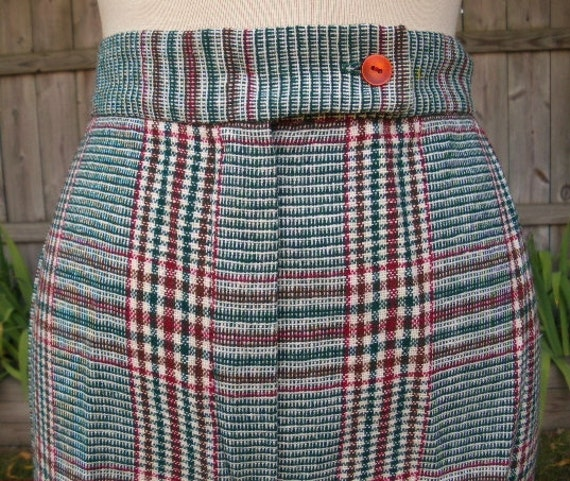 vintage 70s plaid high waisted bell bottoms wide leg pants size 8 w29 made in usa groovy baby