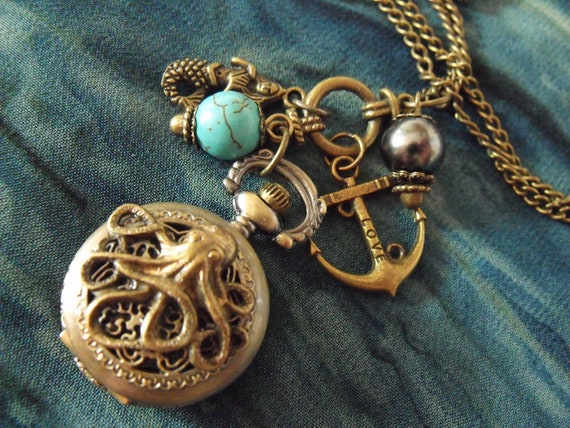 Pocket Watch Necklace,  Bronze Octopus With Turquoise And Pearls, Charms   Womens Gift Handmade