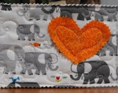 Unique Quilted Postcard - Love in the Mail - Baby Elephants