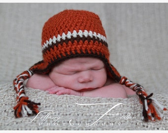 Newborn 3 color thin striped earflap hat Photo Prop (you choose colors - charts inside) sizes nb, 1-3mos, 3-6mos, 6-12mos
