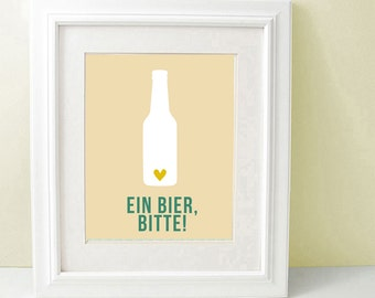 Ein Bier, Bitte Kitchen Wall Art, One Beer, Please, Funny Poster, Modern Home Decor, Wall Decoration SALE buy 2 get 3, Bier Bottle, German