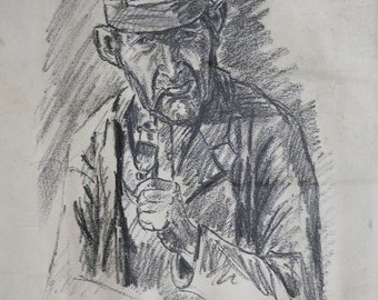 Antique Smoking Man Pencil Drawing signed dated 1918