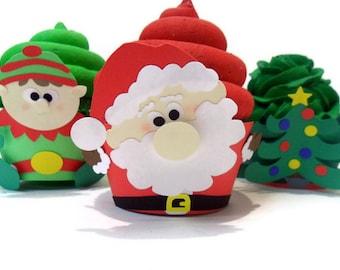 Santa Cupcake Wrappers - set of 12