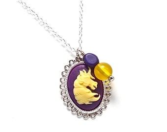 Delta Phi Epsilon - Purple and Gold Unicorn Cameo Necklace - DPhiE - Greek Sorority Jewelry - Fantasy - Mythical Creature - Big / Little
