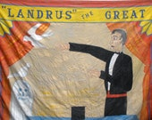 Sideshow Banner Handpainted - Magician Mentalist 1930s -1940s Huge FREE SHIP USA