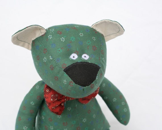 Flowery Green Bear, Stuffed Bear with bow-tie, soft toy for children