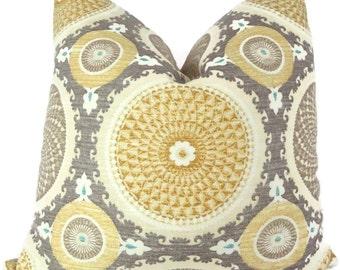 Yellow and Gray Suzani Decorative Pillow Cover, 18x18, 20x20, 22x22 Throw Pillow, Toss Pillow, Pillow Case, Accent Pillow, Suzani Pillow