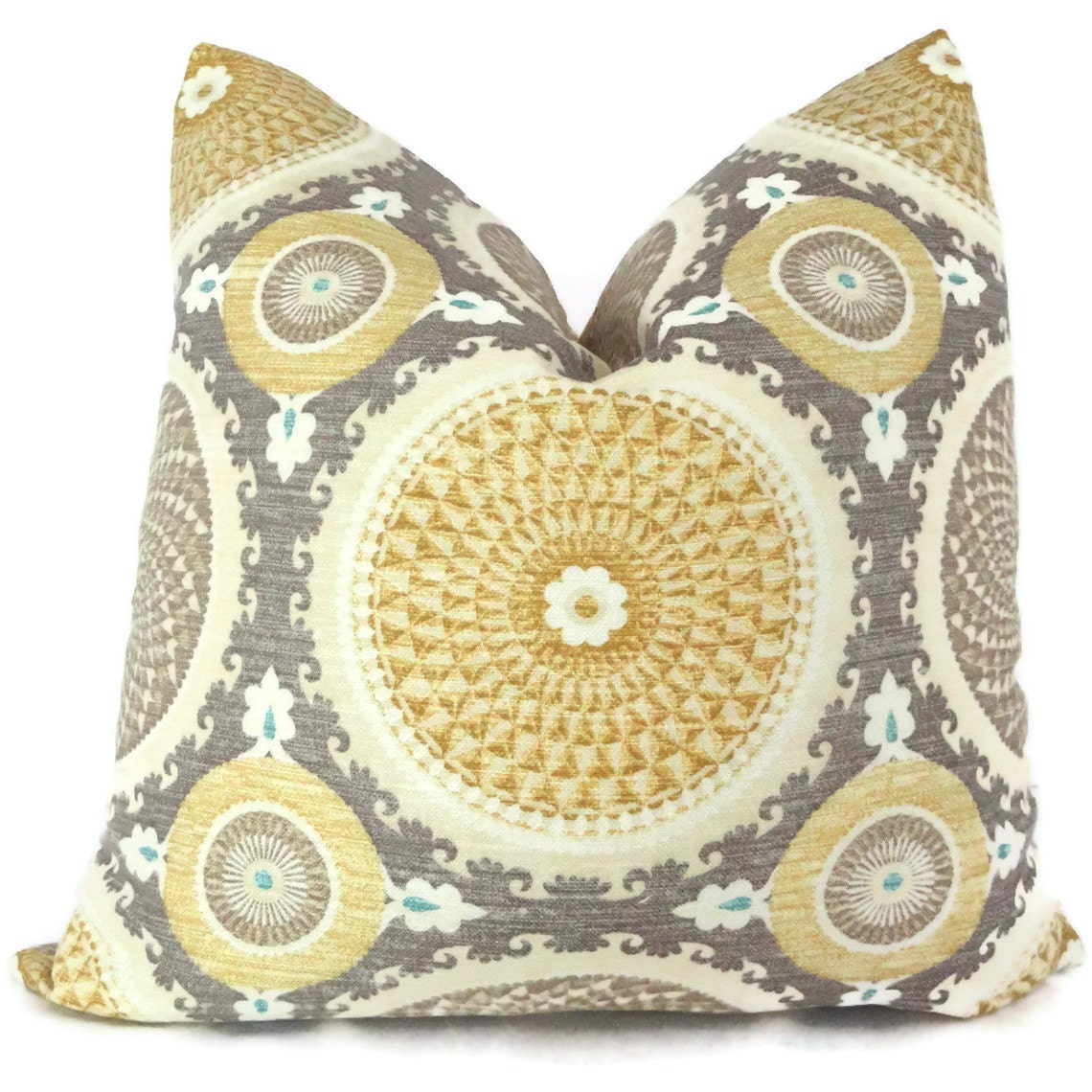 Yellow And Grey Throw Pillow Covers : Yellow and Gray Suzani Decorative Pillow Cover 18x18 by PopOColor