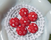 Handmade Fabric Buttons Heart Flowers Set 6 22mm - ChickieVintageLove