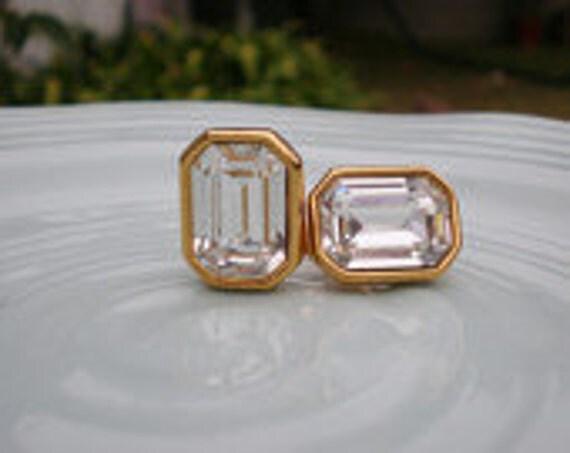 Vintage Monet Earrings Gold Crystal Jewelry