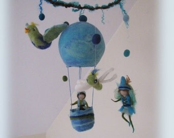 Timothy on his journey - fairy Mobile, waldorf inspried, needle felted,