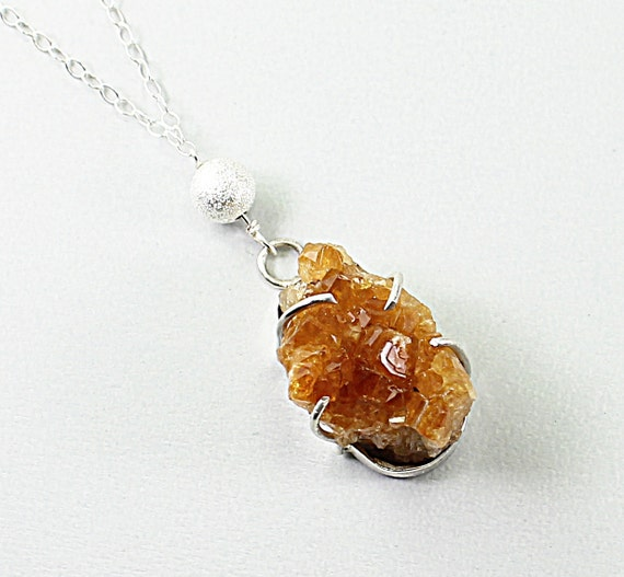 Raw citrine necklace citrine druzy jewelry sterling silver citrine druzy necklace, natural stone jewelry, orange druzy crystal necklace