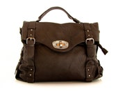 Handmade vegan leather handbag messenger cofee brown -.-  the Rory -.- new collection - 20%  launch discount