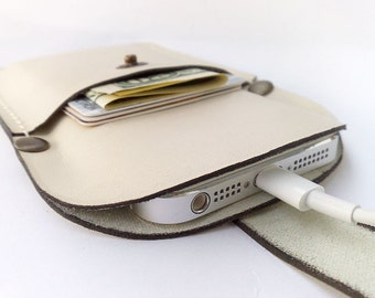 New IPhone 5 or 5S sleeve case wallet  Handmade off-white cowhide leather cell phone with pocket card holder off-white thread free initials