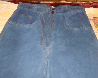 Blue suede jeans