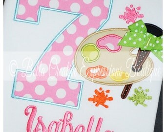 Birthday Applique Number with Paint Palette Bodysuit or Shirt