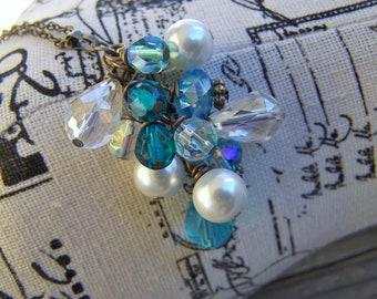 Brass Dangle Necklace Pearls Crystals Czech Glass Blue