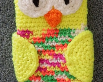 Made to order Hand Crocheted Owl iPhone Cell Phone Cover Neon colors, Yellow, Green Orange