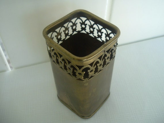 Vintage Brass Pencil Holder Made in India
