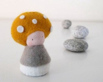 Small toy plush mushroom, Baby Waldorf Doll, Organic toy, Eco friendly toy - Mosa